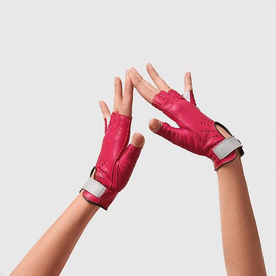 SG rukavičky bezprsté č.06 - sytě růžová / světlá šedá