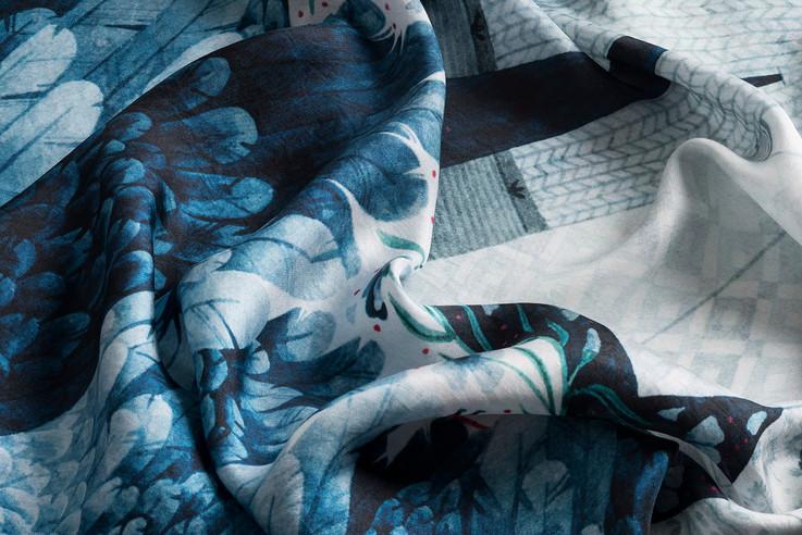 detail of illustration of silk scarf Seven ravens 2