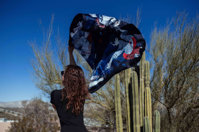 silk scarf Seven ravens
