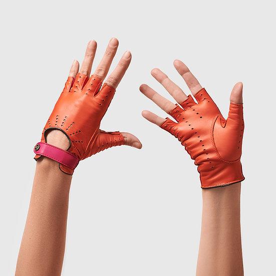 SG rukavičky bezprsté č.01 - oranžová / sytě růžová