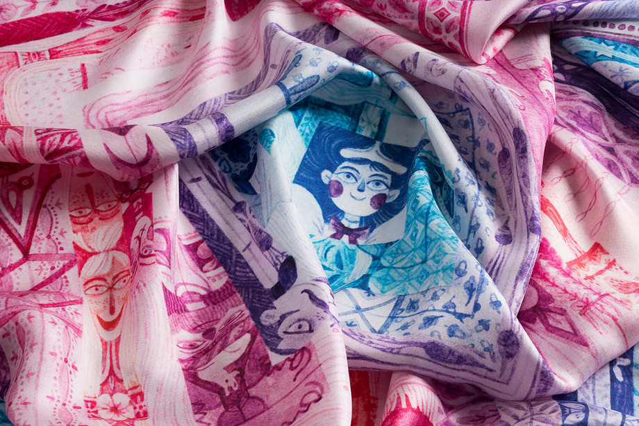 detail of silk scarf Twelve month from Silky gang