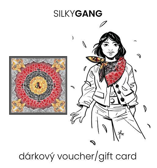 Dárkový voucher šátek 130x130 cm Obr