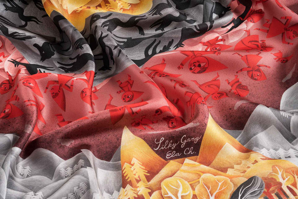 detail of silk scarf little red riding hood