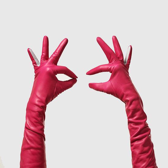 SG rukavičky dlouhé č.06 - sytě růžová / světle šedá