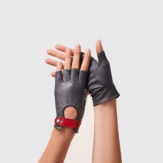 SG rukavičky bezprsté č.04 - tmavě šedá / červená