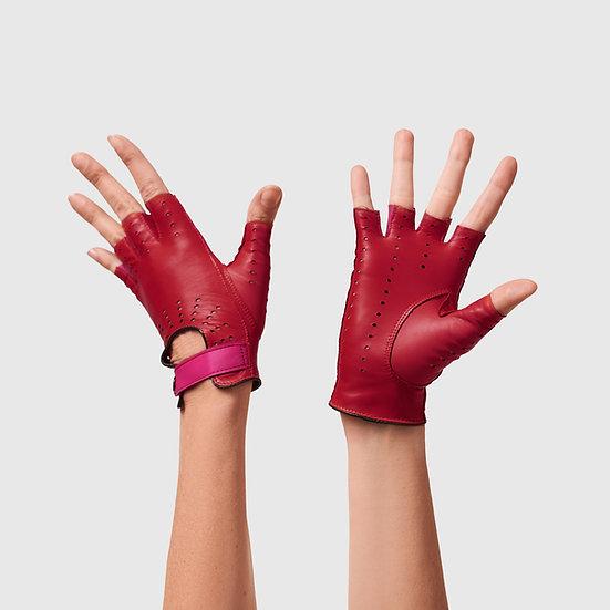 SG rukavičky bezprsté č.08 - červená / sytě růžová