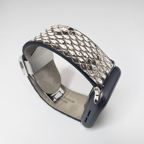 Genuine Florida Python Apple Watch Band - Smoky Granite