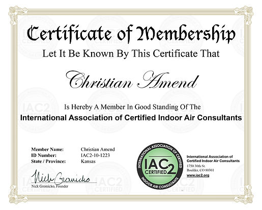 ACM Home Inspections certificate for indoor air testing