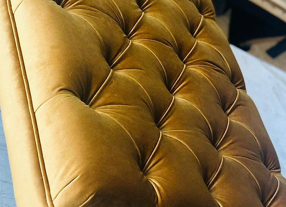 Gold Velvet Deep Buttoned Footstool (X-Large)