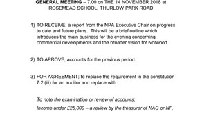 Agenda for AGM 14th November