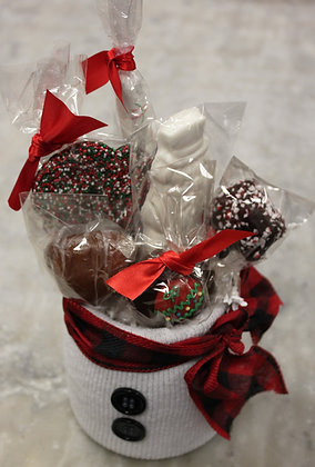 Hand Crafted Snowman  Jar filled with  Festive Fawn Treats