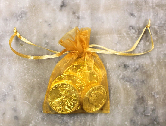 Gold Coins in Gold Mesh Bag