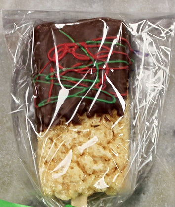 Chocolate Dipped Rice Krispie Treat Christmas Colors
