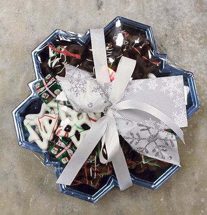 Snow Flake Dish filled with Chocolate covered Pretzels
