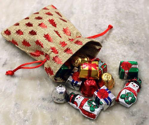 Holiday Goodie Bag filled with Foil wrapped Milk Chocolate