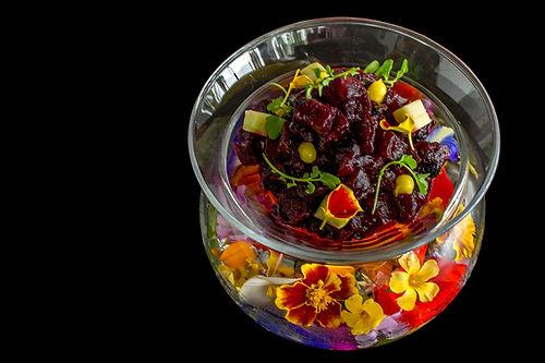 Beetroot ceviche, vegetal leche de tigre