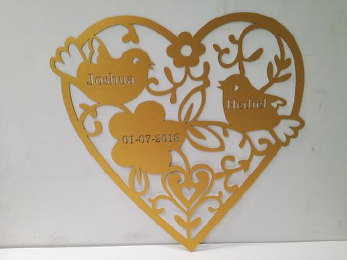 Geboorte - Bruiloft hanger van karton hartje