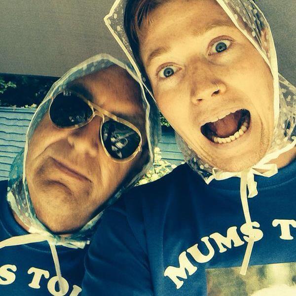Joe with Vinnie in rain mates