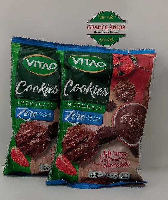 Cookie Morango com cobertura de chocolate