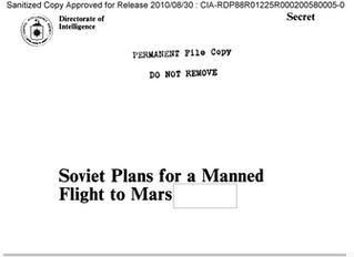 A URSS levaria o homem a Marte nos anos 1990, diz documento da CIA