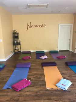 yoga mats laid out yoga room