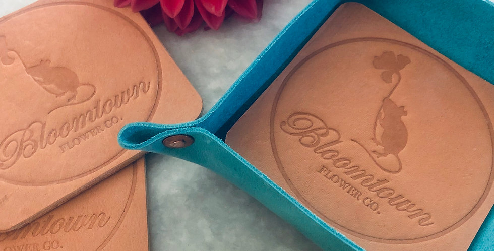Handcrafted leather coaster set
