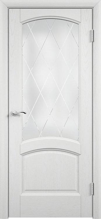 Криста лайт Ясень айсберг Стекло белый сатинат художественное