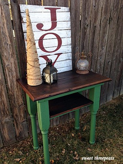 custom green milk paint rustic table
