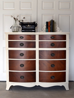 curved dresser in antique walnut