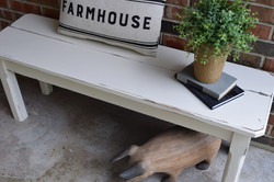 distressed farm bench