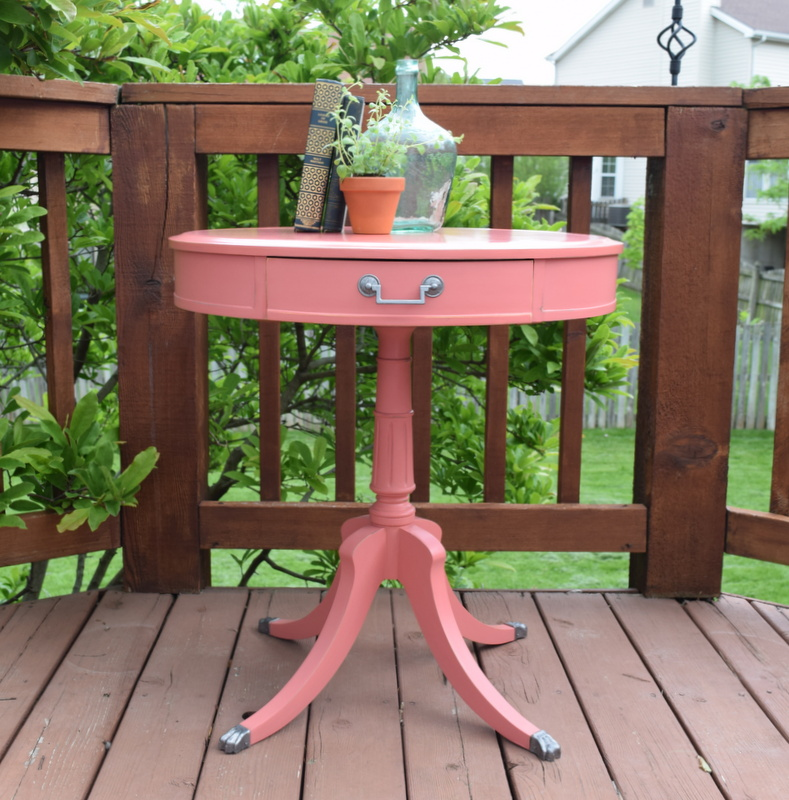 pretty in coral - antique drum table