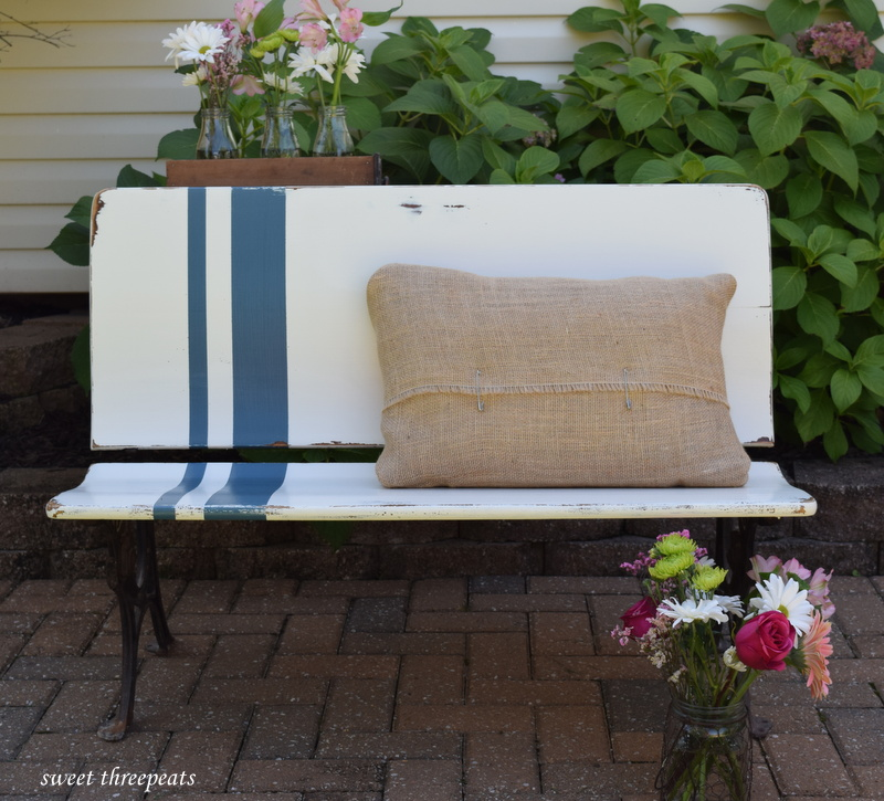 grain sack farmhouse bench