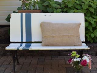 farmhouse bench:  grain sack inspired