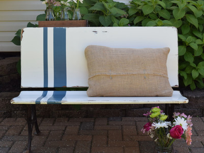farmhouse bench:  grain sack inspired