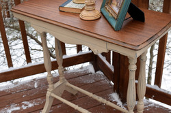 burlap farm table with drawer