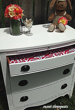 antique dresser in snow white