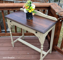 antique oak side table in millstone