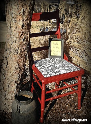 country chair brick red milk paint
