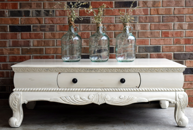 drop cloth coffee table