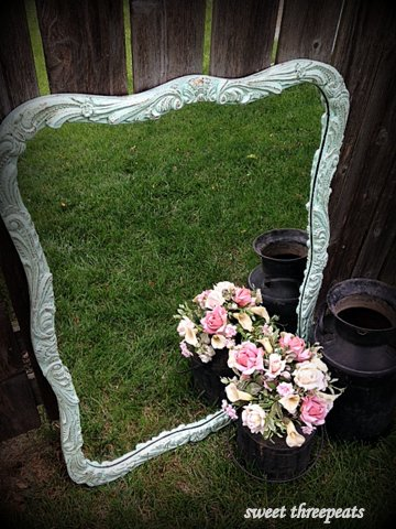 distressed aqua mirror