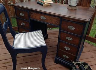 desk makeover:  general finishes coastal blue