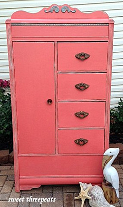 custom coral beachy armoire