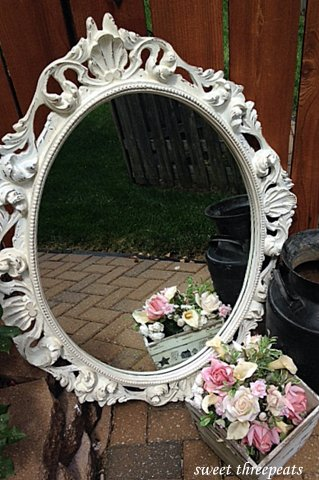 antique white milk paint mirror