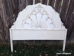 antique white headboard w/dark wax