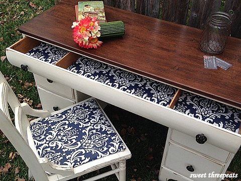 classic antique white and navy desk