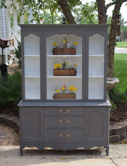 classic gray and white hutch