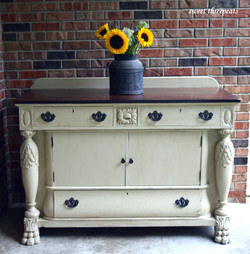 antique millstone buffet