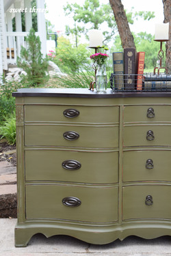 olive chalk paint buffet