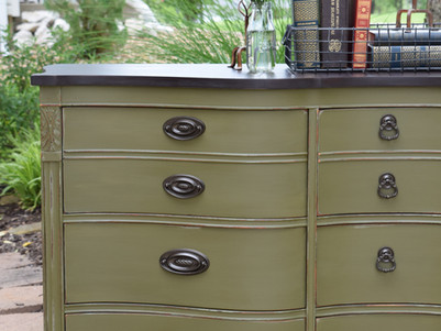 buffet makeover:  olive chalk paint