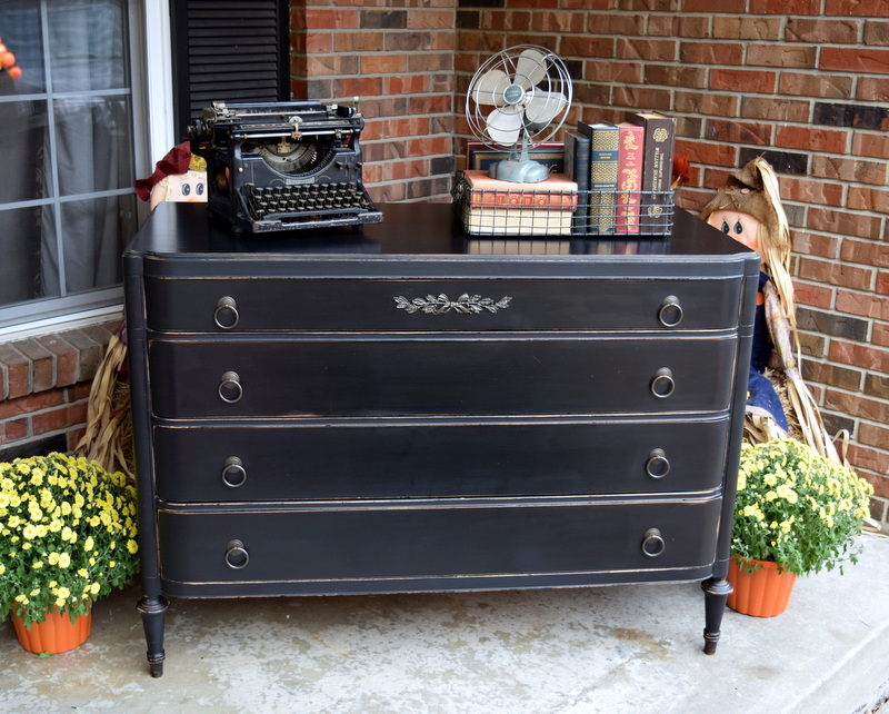 black typewriter dresser